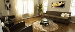 CG image render of 3D modeled neutral living room interior design